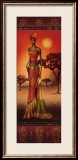 Masai Lady at Sunset Print by Nicola Rabbett