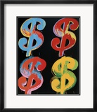 Four Dollar Signs, c.1982 (blue, red, orange, yellow) - 4 symboles du dollar, 1982 (blue, rouge, orange, jaune) Posters par Andy Warhol
