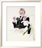 Celia In A Black Dress With White Flowers-48 Affiches par David Hockney