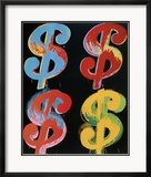 Four Dollar Signs, c.1982 (blue, red, orange, yellow) - 4 symboles du dollar, 1982 (blue, rouge, orange, jaune) Poster par Andy Warhol