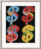 Four Dollar Signs, c.1982 (blue, red, orange, yellow) - 4 symboles du dollar, 1982 (blue, rouge, orange, jaune) Art par Andy Warhol