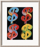 Four Dollar Signs, c.1982 (blue, red, orange, yellow) - 4 symboles du dollar, 1982 (blue, rouge, orange, jaune) Affiches par Andy Warhol