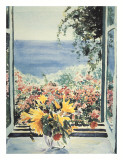 Yellow Flowers In Window Prints by Charles Penny