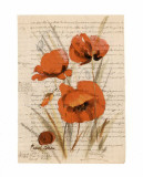 Coquelicot et Calligraphie II Art by Pascal Cessou