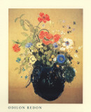 Blue Vase of Flowers Print by Odilon Redon
