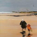 Mamy et l'Enfant Sur la Plage Print by Christian Sanseau