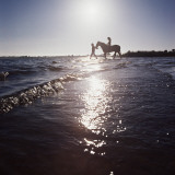 Silhouetted Couple on the Beach with Horse Photographic Print by Dennis Hallinan