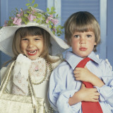 Boy and Girl Dressed Up in Adult Clothing Photographic Print by Dennis Hallinan
