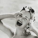 Portrait of Happy Woman Shampooing Hair Photographic Print by Dennis Hallinan