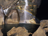 Double Waterfall with Rainbow Visible in Lower Fall, Yosemite National Park, California, Usa Photographic Print by Alex Adams