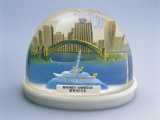 Close-Up of a Figurine of Sydney Harbor Bridge in a Snow Globe Photographic Print