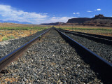Old Train Tracks Heading Toward Distance in Desert, Canyonlands National Park, Utah, Usa Photographic Print by Alex Adams