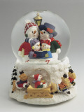 Close-Up of Figurines of a Snowman Family in a Snow Globe Photographic Print