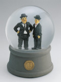 Close-Up of Figurines of Laurel and Hardy in a Snow Globe Photographic Print
