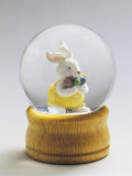 Close-Up of a Figurine of a Rabbit in a Snow Globe Photographic Print