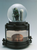 Close-Up of a Figurine of Frankenstein in a Snow Globe Photographic Print