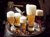 High Angle View of Glasses of Beer on a Tray Photographic Print