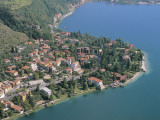 Aerial View of Buildings at the Lakeside, Parco Alto Garda Bresciano, Fasano, Lombardy, Italy Photographic Print by G. Gnemmi