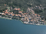 Aerial View of Buildings Along a Lake, Castelletto Di Brenzone, Province of Verona, Veneto, Italy Photographic Print by G. Gnemmi