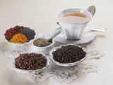 Close-Up of a Cup of Herbal Tea with Bowls of Spices Photographic Print