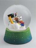Close-Up of a Snowman and a Mouse in a Snow Globe Photographic Print