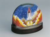 Close-Up of a Scene of Space Shuttle Taking Off from NASA Kennedy Space Center in a Snow Globe Photographic Print