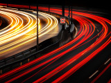 Autobahn Curve Light Trails Photographie par Andreas Levers