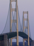 Michigan, Saint Ignace, the Mackinac Bridge Catches the Last Sunlight of the Day Photographic Print by Bruce Edwards