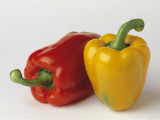 Close-Up of Yellow Bell Peppers and Red Bell Peppers Photographic Print