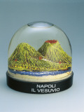 Close-Up of Figurines of Mt Vesuvius in a Snow Globe Photographic Print