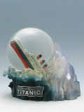 Close-Up of a Snow Globe Depicting Sinking of Titanic Photographic Print