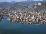 Aerial View of Buildings at the Waterfront, Oglio River, Lake Iseo, Sarnico, Province of Bergamo Photographic Print by G. Gnemmi