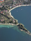 Aerial View of Buildings at the Lakeside, Lake Garda, Malcesine, Province of Verona, Veneto, Italy Photographic Print by G. Gnemmi