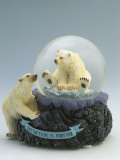 Close-Up of a Figurine of a Polar Bear in a Snow Globe Photographic Print