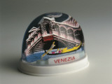 Close-Up of a Figurine of a Bridge in a Snow Globe Photographic Print