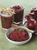Close-Up of Onion Compote in a Bowl and Glasses Fotografie-Druck von M. Vigano