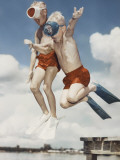 Retro Boys Jumping into Water Wearing Snorkeling Gear Photographic Print by Dennis Hallinan