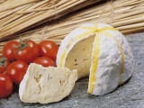 Close-Up of Cheese (Gaperon) and Tomatoes Photographic Print by G. Cigolini