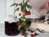 Close-Up of a Jar of Sour Cherry Jam Photographic Print by N. Chasseriau