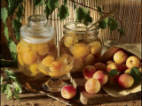 Close-Up of Preserved Apricots in Jars Photographic Print by P. Martini