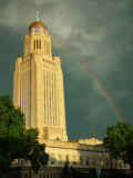 Nebraska, Lincoln, a Rainbow Wraps the State Capitol Building Photographic Print by George Burba