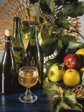 Close-Up of Apples with a Bottle of Wine and a Glass Photographic Print by P. Martini
