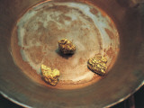 High Angle View of Nuggets of Gold on a Pan, Dawson, Usa Photographic Print