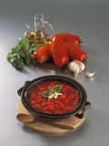 Close-Up of a Bowl of Tomato Sauce with Red Bell Peppers Photographic Print by P. Martini