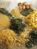 High Angle View of Assorted Pasta and Ingredients Photographic Print by P. Martini