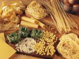 High Angle View of Assorted Pasta and Ingredients Fotografisk trykk av M. Sarcina