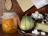 Close-Up of a Jar of Pickle with a Fresh Melon Photographic Print by N. Chasseriau