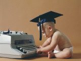 Baby Wearing Graduation Cap Typing on Typewriter Photographic Print by Dennis Hallinan