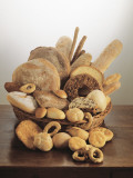 Close-Up of Breads in a Wicker Basket Photographic Print by P. Martini
