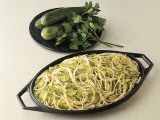 Close-Up of Spaghetti with Courgette Sauce Photographic Print by C. Ruggiero